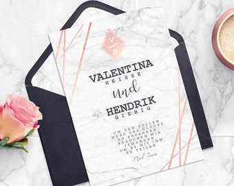 Marble wedding invitation | Cards with printing | Marble look. Rose gold, white, black
