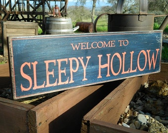 "Distressed Primitive Country Wood Sign - Sleepy Hollow 5.5"" x 19"""