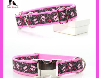 Dog collar ' pink & red skulls ""