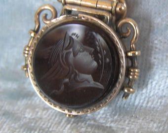 TIMARIE Victorian Men's Watch Fob Locket With Intaglio Carved Sardonyx Carnelian Knight