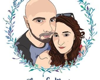 Custom Portrait with Wreath, Custom Family Portrait Illustration, Personalised Gift, Gift for Her, Gift for Him, Digital File