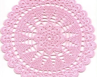 Crochet Doily Lace Doilies Table decoration Crocheted Doily Centerpiece Handmade Wedding Doily Napkin Boho Bohemian Decor Round Pink Flower