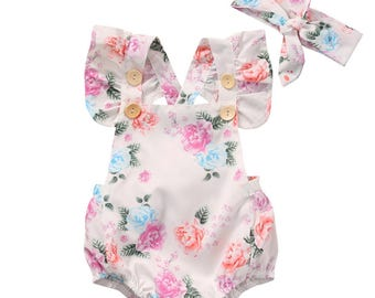 Brand new baby girl floral romper with headband