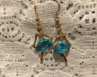Ballerina Charm Blue Crystal Dangle Earrings