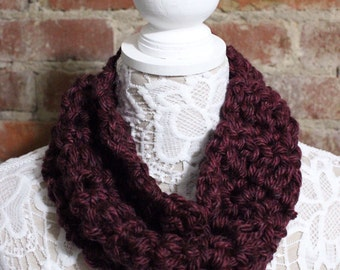 Chunky Cowl Neck Scarf - Maroon
