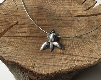Sterling silver orchid necklace, flower necklace, orchid pendant, botanical necklace,collar necklace
