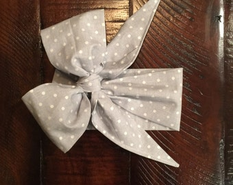 Grey and White Polka Dot Big Bow Headwrap