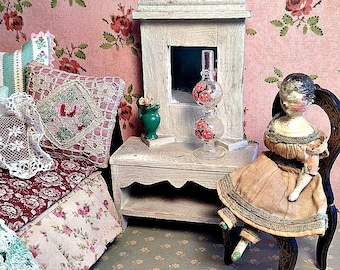 Antique Vintage Folk Art Mirrored Miniature Dresser for Dollhouse