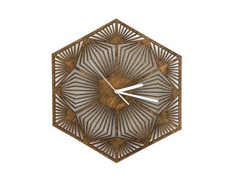 Geometric Wall Clock - laser cut clock, handmade clock, wood clock, laser cut wood, wood art, geometric wooden clock, unique wall clock