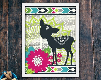 Deer Print Boho Nursery Wall Decor, Woodland Boho Kid PRINTABLE, Bohemian Woodland Nursery, Rustic Nursery Woodland Creatures (#14426)