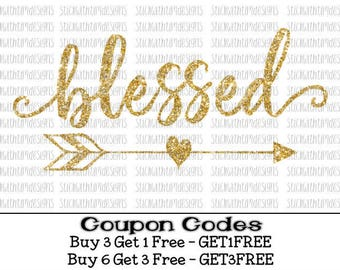 Blessed svg Thankful svg Blessed svg file arrow svg file SVG PNG svg files for Silhouette svg files for Cricut Cameo files heart svg