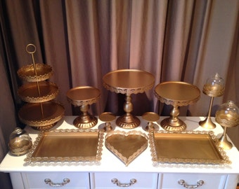 Set of 12 pieces Gold colour iron metal cake cupcake stands
