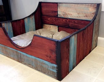 Redwood dog bed frame and bedding