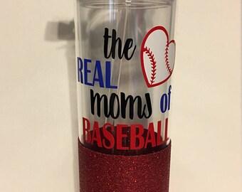 Real Mom's of Baseball, Football, Basketball, Soccer Insulated Tumbler, glitter dipped, Sports Mom