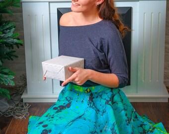 Skirt. Hand made , unique, art, marble. Waist - 74 sm, length - 60.