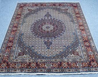 6.9'x9.3' Persian Moud Handmade, oriental, vintage floral pattern, red, pink yellow orange, navy blue, green, brown, purple area rug, carpet