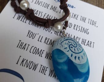 Moana's Magical Necklace Heart of Te Fiti birthday party gift costume cosplay Moana movie jewelry notecard inspirational note Moana necklace