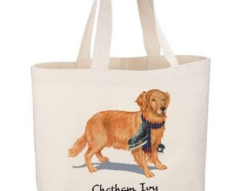 Golden Retriever Beach Tote by Chatham Ivy - preppy dog tote