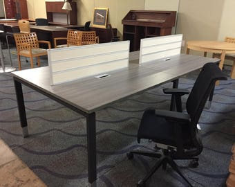 4 person benching desk unit with wire management