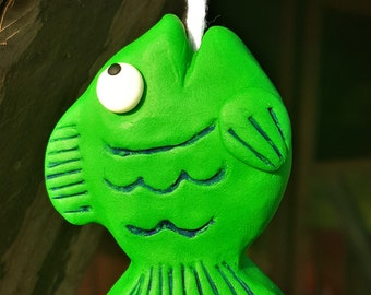 Green Fish Light Pull with Glow in the dark eyes