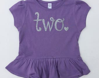 Two Birthday Shirt - Girl Birthday Shirt - Birthday Gift for Girl - Girl Birthday Tee - Two t shirt - Ruffle shirt - Birthday Tee - 2 Tee