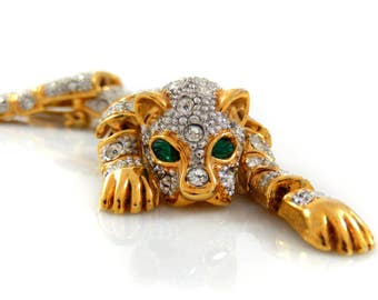 Articulating Rhinestone Jaguar Cat Costume Brooch
