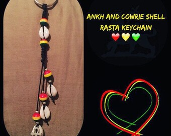 Ankh and Cowrie Shell Rasta Keychain