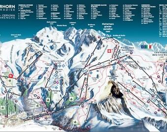 Ski map Etsy