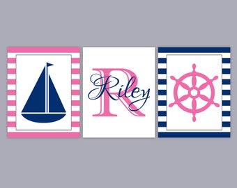Girl Nautical Nursery Wall Art - Baby Name Art - Pink Navy Nursery Art