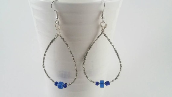 Wire wrapped blue beaded chandelier earrings, gift idea, blue jewelry collection, blue theme jewelry, mother's day gift, gift for her, mom