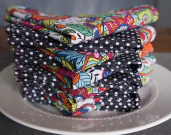 """Set of 12 Cloth Napkins - 12""""x 12""""    Multi Colored    Black & White    Double Sided    Flowers and Polka Dots"""