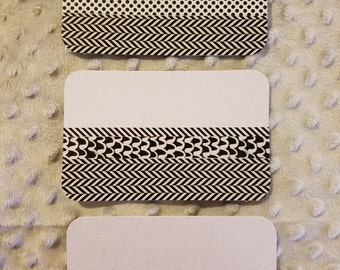 Set of 3 coordinating washi tape flat note cards with matching envelopes- black white gray