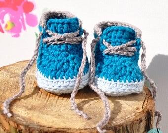 Crochet blue baby high top sneakers