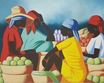 "ORIGINAL painting, Caribbean Market painting Wall Hanging art large painting Caribbean Oil painting Wall art Modern art decor 12x16"""