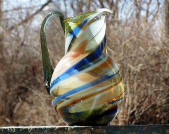 Vintage glass multicolor decanter Soviet drink carafe Decanter rustic beverage Retro carafe Glass carafe Retro decanter Murano style