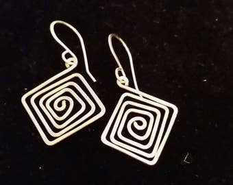 Silver color square wire earrings