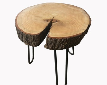Coffee table in oak wood with legs in wood and steel • steel hairpin
