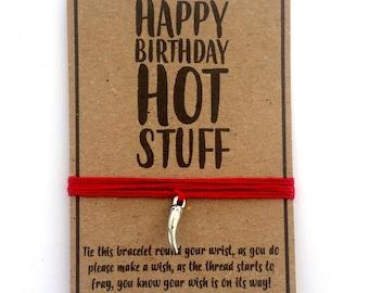 Happy Birthday hot stuff chilli pepper friendship wish charm bracelet
