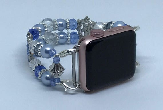 "Apple Watch Band, Women Bead Bracelet Watch Band, iWatch Strap, Apple Watch 38mm, Apple Watch 42mm, Sparkle Blue & Crystal Size 6 3/4"" To 7"""