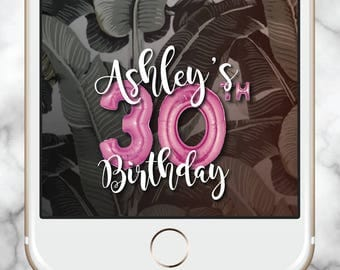 Custom Snapchat Filter, Snapchat Geofilter Birthday, 21st Birthday for her, Birthday Snapchat Filter, 30th Birthday for her, Gold Balloons