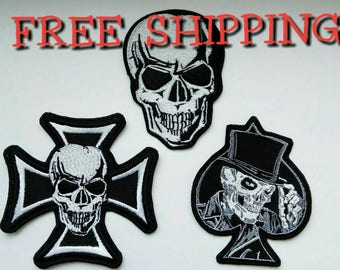 Set skull patches for biker jacket. Embroidery patch. 3 psc.