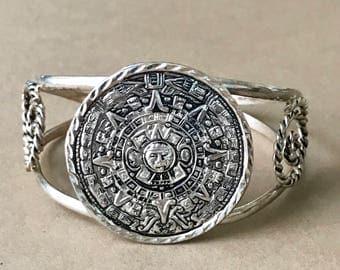 "Vintage Sterling Silver Cuff Bracelet, Taxco, 6-1/4"" Length + 1-1/4"" Gap = 7-1/2"" Total Bracelet Length"