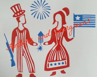 MULTI COLOR 4th Of July Pyrex Butterprint Decal - Fourth of July - USA - Independence Day - America
