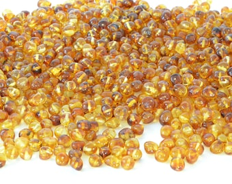 Amber Beads, Genuine Baltic Amber Beads, Honey  Colour, With Drilled Hole,  Polished 10, 20, 50 or 100g,  7~8mm