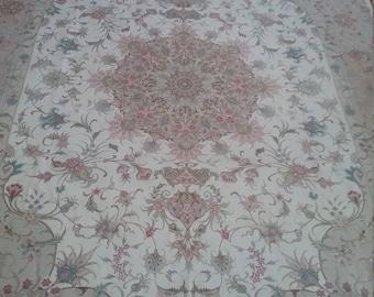Very fine Persian carpet Tabriz 9.7 × 6.5 ft 292 × 195 cm, wool and silk on silk