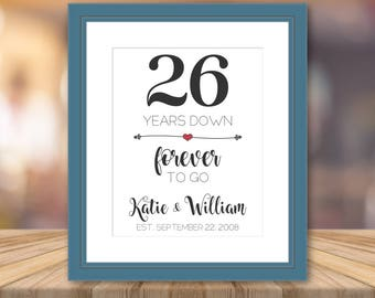 26th Wedding Anniversary Gift For Husband : 26th Wedding Anniversary Gift For Him 26 Year Anniversary Print ...