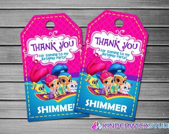 Shimmer and Shine Thank You Tags, Shimmer and Shine Favor Tags, Shimmer and Shine Gift Tags, Shimmer and Shine Tags, Shimmer and Shine Tag