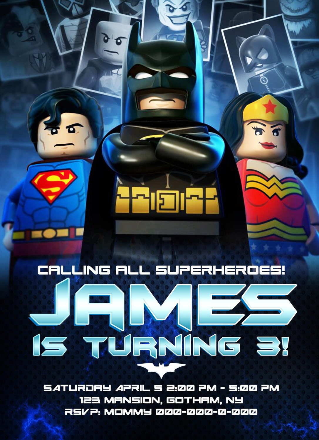 Batman Invitation, Batman Birthday, Batman Party, Batman Invites ...