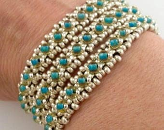 3 Strand Turquoise and Silver Seed Bead Bracelet, Cuff Bracelet, Beaded Bracelet, Turquoise Bracelet, Unique Bracelet