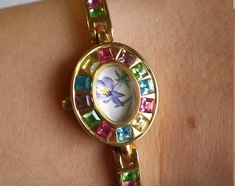Purple Flower Upcycled Watch